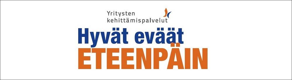 Yritysten kehittämispalveluiden logo tekstillä hyvät eväät eteenpäin..