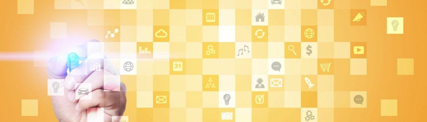Keltaisia sosiaalisen median ikoneja.