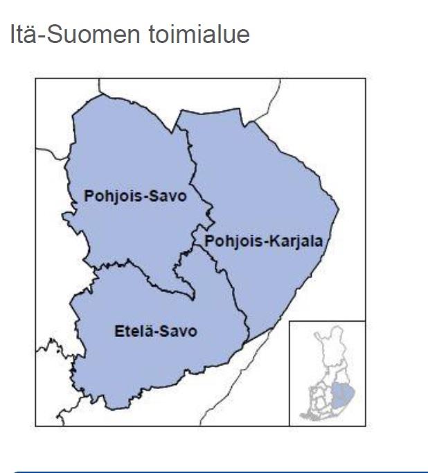 Itä-Suomen toimialuekartta. Pohjois-Savo, Etelä-Savo ja Pohjois-Karjalan alue kartalla.