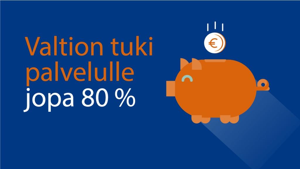 Sininen tausta jossa oranssi porsas säästöpossu jonka sisälle tipahtaa euron kolikko.